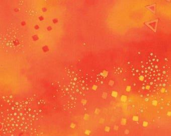 Laurel Burch Basic Dark Orange Glitter Metallic cotton fabric from Clothworks cotton Y0808-37M, quilting, material, metallic gold