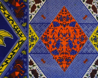 Fat Quarter of Bright Panelled African Wax Print Cotton With Floral and Animal Design