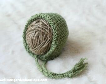 Newborn Green Knit Bonnet- Baby Bonnet- Knitted Bonnet- Knit Photography Prop