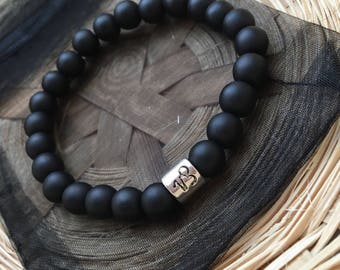 Matte Black Capricorn Star Sign Zodiac Sign Bracelet