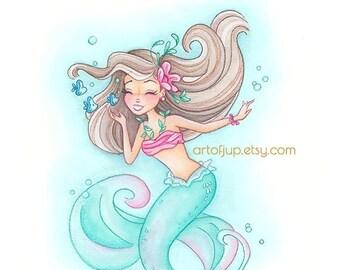 ON SALE Mermaid wall art -  mermaid decor, Julia painting