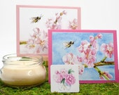Mother's Day Gift Bundle, Mother's Day Cards, Cherry Blossom Candle, Peony Magnet, Spring Gift, Floral Candle, Gift for Mom, Blank Cards