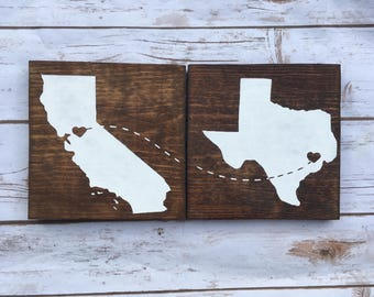Wedding gift wooden cabin signs fall rustic signs Gift for her him Long Distance family brother sister Moving Away Missing You Moving