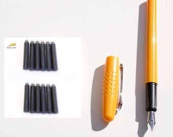 NEW Fine Nib Plastic Fountain Pen + Ink Converter, 12 Cartridges Refills Orange