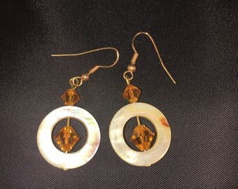 Topaz crystal and yellow shell earrings 012