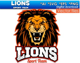 Lions SVG PNG EPS Ai vector files Digital clipart Instant Download Vector Files Sport Team Printable File digital images silhouette Leo