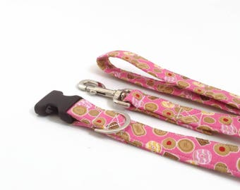 Biscuit Dog Collar and lead Set   Dog Leash   Girl Dog Lead   Cookie Dog Leash   Pink Dog Lead   Dog lead and collar   Puppy lead and coll