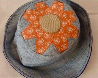 Flower Sun hat, Festival sun hat, daisy sun hat, Girls Sun hat, Flower sun hat, Denim sun hat, daisy hat, Denim hat , Hippie hat