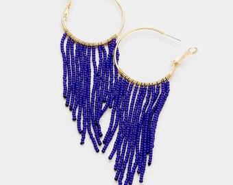 seed bead hoop earrings, beaded hoop earrings, beaded hoops, seed bead earrings, gold blue beaded hoop earrings, fringe hoop earrings