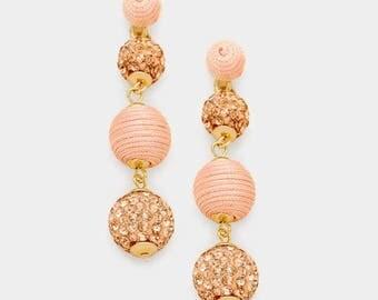 Bon Bon Earrings, Les Bonbons Earrings, Crispin Drop Earrings, Triple Ball Earrings, Thread Wrapped Ball Earrings, Peach Fireball Earrings