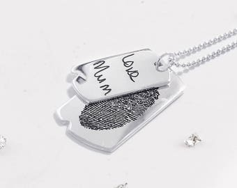 Sterling silver memorial ashes/hair imprinted double dog tags