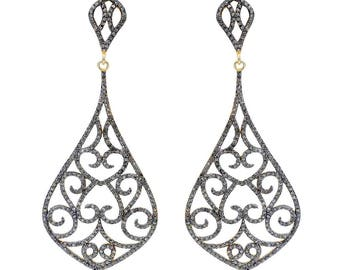SDE1577 - Silver Diamond pave earrings – Two tone
