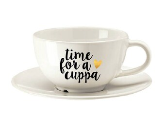 Cuppa and saucer, tea lover, gifts for tea lovers, bespoke cup, coffee lover, coffee gifts