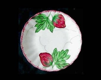 "Blue Ridge Plate BERRYVILLE 6.25"" Bread Cake Southern Potteries Handpainted Strawberry Dinnerware Red Fruit Bargain Beauty (B15) 6131"