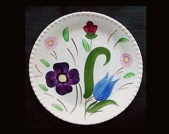 "Blue Ridge Plate MOUNTAIN NOSEGAY 7.25"" Plate Bread Salad Dessert Hand Painted Candlewick Blue Red Purple Pink Flowers (B22) 6324"