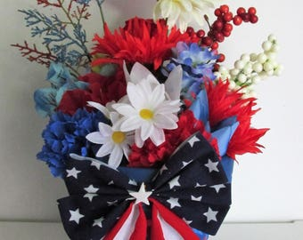 Hand-Painted Patriotic Themed Silk Flower Arrangement, featuring Splatter-painted Clay Pot, and a Flag Bow