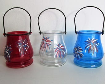 Hand-Painted Patriotic Hanging Candle Votives, featuring Fireworks, set of 3