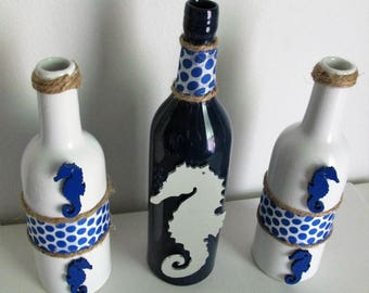 Set of 3 Embellished Decorative Bottles featuring a Mirrored Seahorse, Wooden Seahorse Charms, Ribbon, and Twine