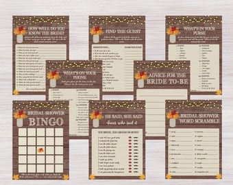 Fall Bridal Shower games Package, Rustic Mason Jar, Autumn Leaves, Funny Bachelorette Games Pack, Wedding Activity Kit Shower Activities Set