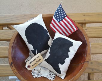 Honor two presidents, Lincoln and Washington silhouette pillows, ornies, tucks, set of 2