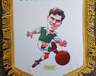 the famous five hibernian fc gordon smith 14x12 inch caricature colour pennant and scarf