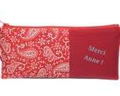 RESERVED: custom name, red pencil case Kit, package thank you, end of year school gift,