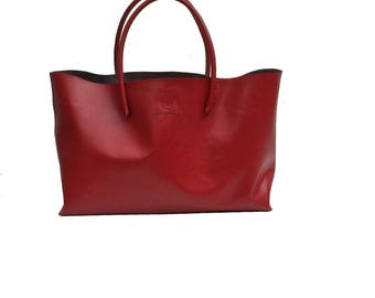 Einkaufsshopper Shopping bag Shopper XXL leather Red handmade