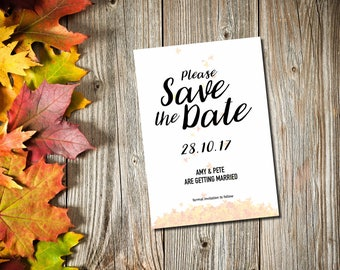 Save the Date Card, Rustic Save-the-Date, Autumnal