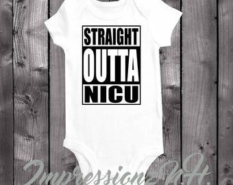 straight outta Nicu - Nicu baby onesie , Nicu baby bodysuit, Miracle baby