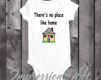 There's no place like home - cute baby onesie, cute baby bodysuit - Welcome home baby gift, New baby arrival