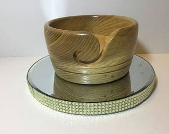 Wooden yarn bowl, hand turned from ELM         (ELM24)