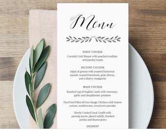 Menu Card Template, Wedding Dinner Menu Printable, Rustic Calligraphy Menu, Fully Editable Template, Instant Download, Digital #024-116WM