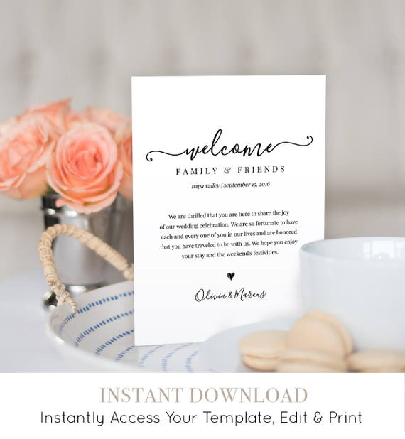 Modern Calligraphy Welcome Bag Letter Template - 100% Editable