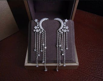 AAA cubic zirconia symmetrical moon and star shaped earrings