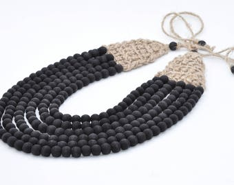 Black wooden necklace  Wooden and linen Jewelry for Women Strand Necklace Big Necklace Ethnic Handmade Beaded Necklace Multistrand necklace