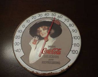 "Vintage Coke 12"" Drink COCA-COLA Thermometer No Glass Original Ohio Jumbo Dial"