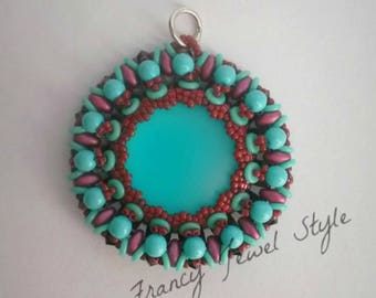 Cod C0601 Turquoise Cabochon Pendant 24 mm with Burgundy and coloring