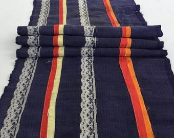 Natural Hmong hemp fabric,old hemp, vintage  hemp hand dyed Hmong hill tribe -Bed runner ,Table runner from Thailand