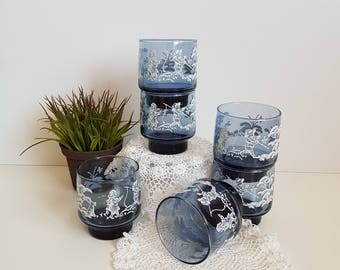 Vintage Libbey Blue Juice Glasses, Mary Gregory Style Set of 6