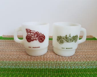 "Vintage Pair of Fire King, Anchor Hocking ""Antique Car"" Coffee Mugs, Milk Glass"