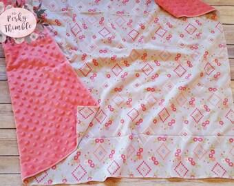 Personalized baby blanket, Minky Baby girl blanket, Pink Baby Blanket, Floral baby blanket, Customized baby blanket, Coral baby blanket