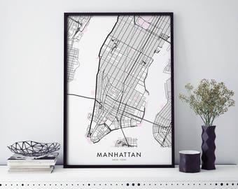 Manhattan, New York Art, City Map Print Wall Art | A4 A3 A2 A1