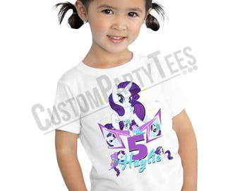 My Little Pony Birthday Shirt Custom Name & Age Personalized Rarity Birthday Shirt