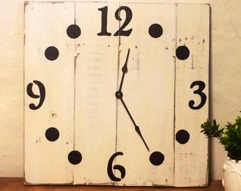 Modern Salvaged Wood Extra Large Square Wall Clock -Choose 18/20 Inches