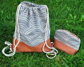 Drawstring Backpack, Boho Backpack, Bohemian Backpack, Canvas Backpack, Hippie Backpack, Wandering Backpack, Tribal Drawstring, Ethnic Bag
