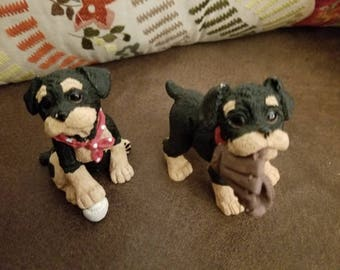 Two Little Terrier Puppy Figurines
