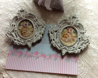 2 Antique French Tiny Petit Point On Linen, In Iron Ornate Frames with Hangers. Exquisite!
