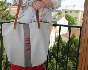 Tote bag in linen/linen tote/shopping tote/hand/tote bag purse