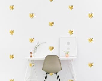 Gold Heart wall Decal Kids room shape Wall Sticker, Kids Bedroom, Living room Pattern Wallpaper Vinyl Wall Decals Wall Stickers Home Decor