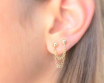 Chain Stud Earrings, Chain Drop Earrings, Gold Drop Earrings, Double piercing, Double chain earrings, Trendy Earrings, Gold Filled, Fashion.